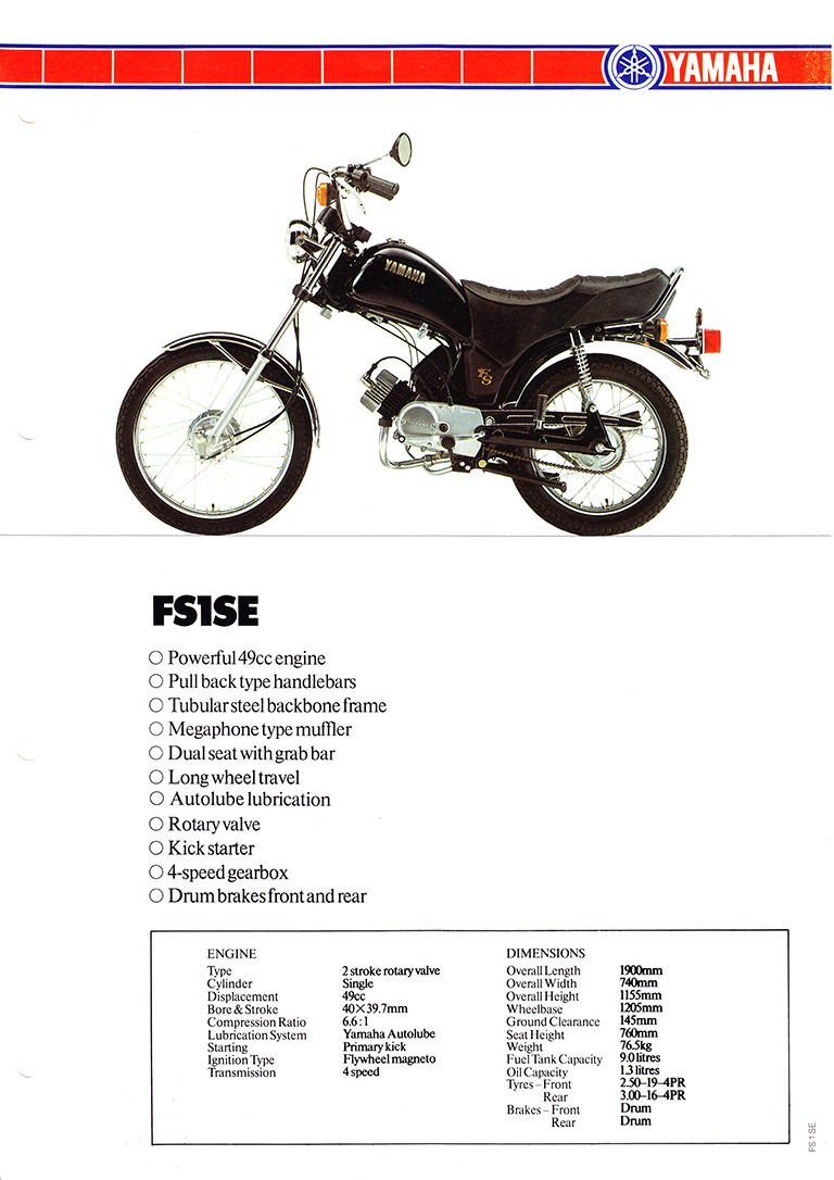 1981 83 YAMAHA FS1 SE 5A1 YAMAHA BLACK   SPECIFICATION SHEET